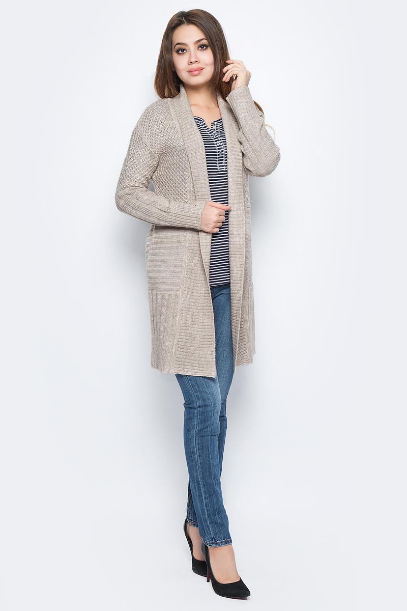 Кардиган женский Baon, цвет: бежевый. B147508_Muscovite Melange. Размер L (48) платье baon цвет серый b457530 silver melange размер l 48