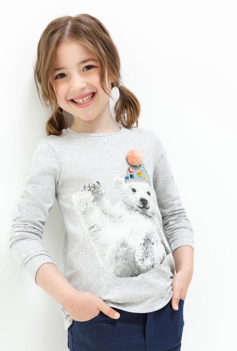 Джемпер для девочки Acoola Latin, цвет: светло-серый. 20220100131. Размер 128 джемпер для девочки acoola furia цвет бежевый 20210310023 800 размер 140