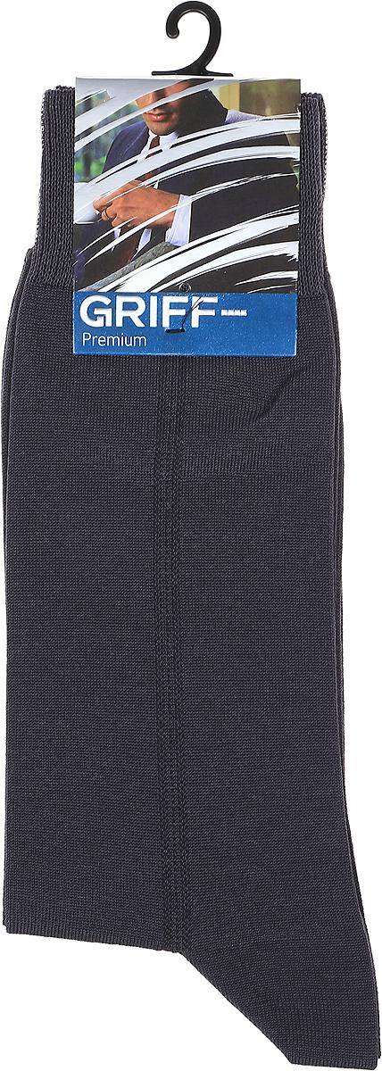 Носки мужские Griff Premium, цвет: темно-серый. C3. Размер 39/41C3Мужские носки Griff Premium с удлиненным паголенком изготовлены из высококачественного материала, не подверженному усадке и пилингу - мерсированной пряжи. Комфортная широкая резинка пресс-контроль не сдавливает и комфортно облегает ногу. Обладают повышенной прочностью, благодаря усиленной пятке и мыску.Мерсеризованная пряжа - это обработанная особым способом хлопковая нить. В результате подобной обработки пряжа приобретает превосходный блеск, мягкость и шелковистость, высокую устойчивость цвета и отличное поглощение влаги. Изделия из такой пряжи напоминают шелковую продукцию.