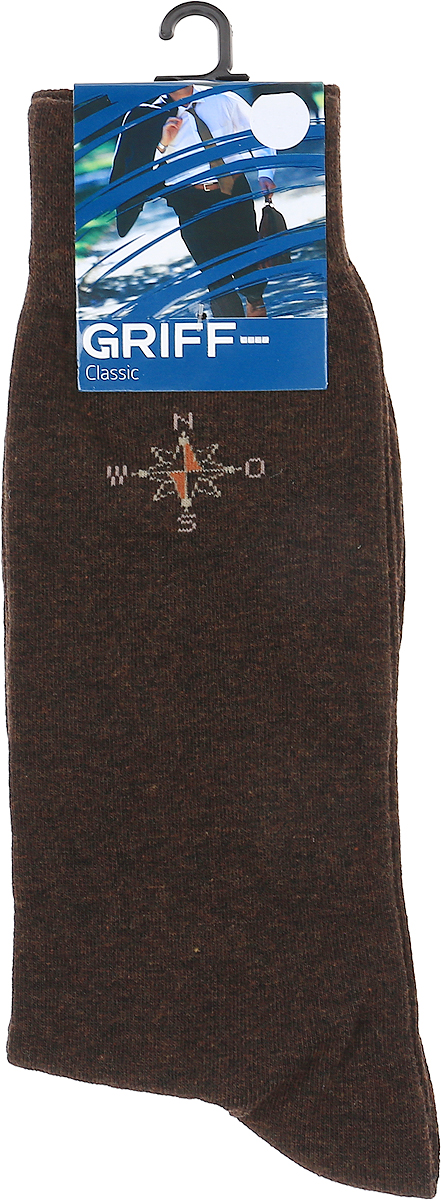 Носки мужские Griff Classic, цвет: моро. Var.3. Размер 42/44Var.3Классические зимние мужские носки от Griff выполнены из хлопка с добавлением эластана. Носки с рисунком на паголенке с широкой комфортной резинкой.