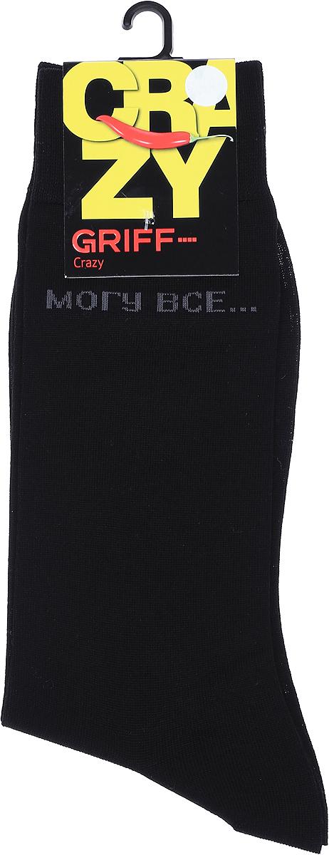 Носки мужские Griff Могу все, цвет: черный. CR6. Размер 39/41CR6Мужские носки от Griff выполнены из высококачественного мерсеризованного хлопка с оригинальным рисунком на паголенке. Широкая двойная резинка, кеттельный шов, усиление пятки и мыска.