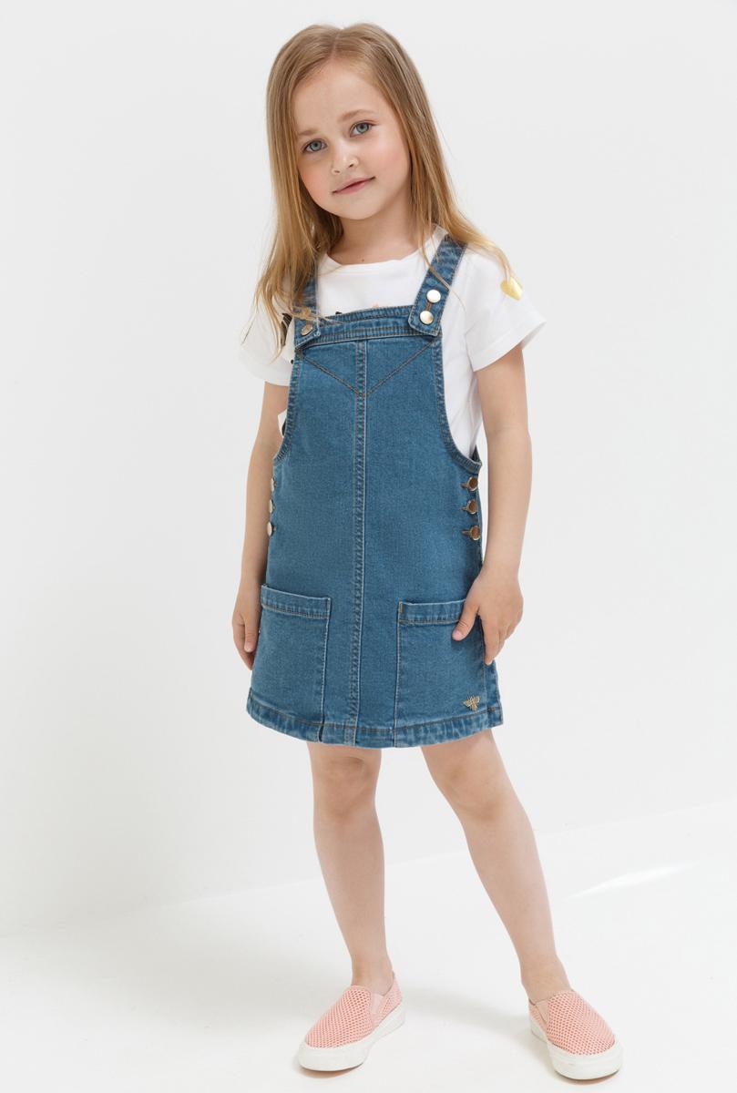 Юбка для девочки Acoola Capricciosa, цвет: синий. 20220180048. Размер 10420220180048Сарафан для девочки Acoola выполнен из эластичного хлопка. Модель на бретельках застегивается на кнопки.