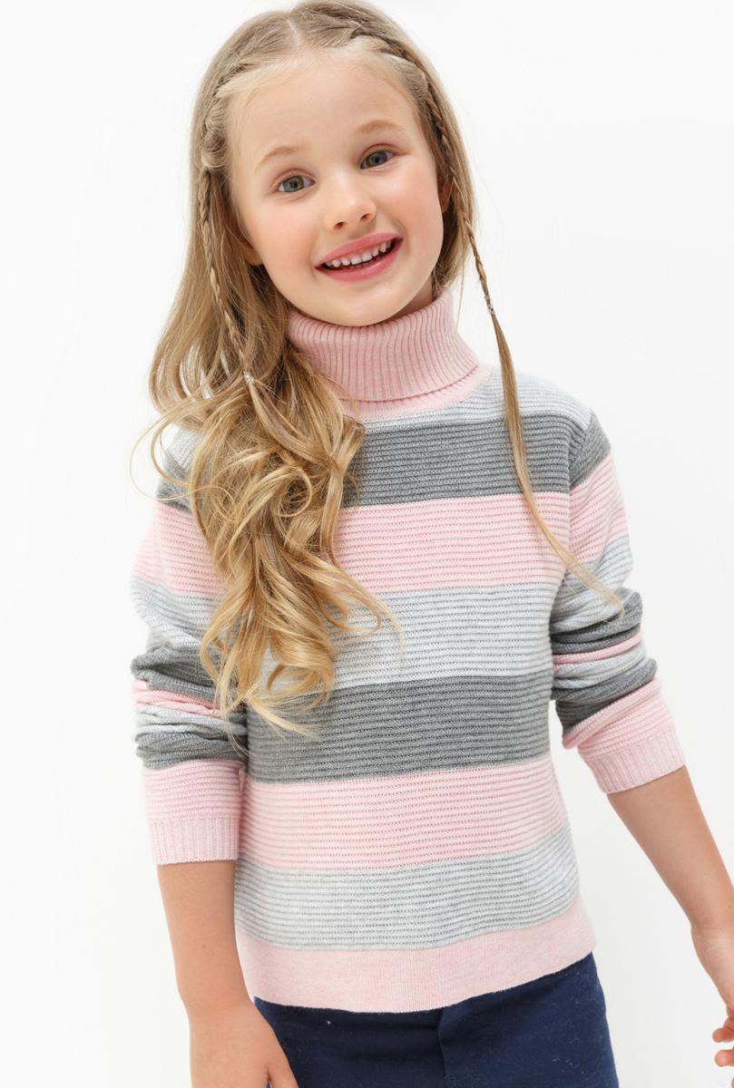 Свитер для девочки Acoola Macau, цвет: мультиколор. 20220320025. Размер 12220220320025Свитер для девочки Acoola выполнен из качественного материала. Модель с воротником гольф и длинными рукавами