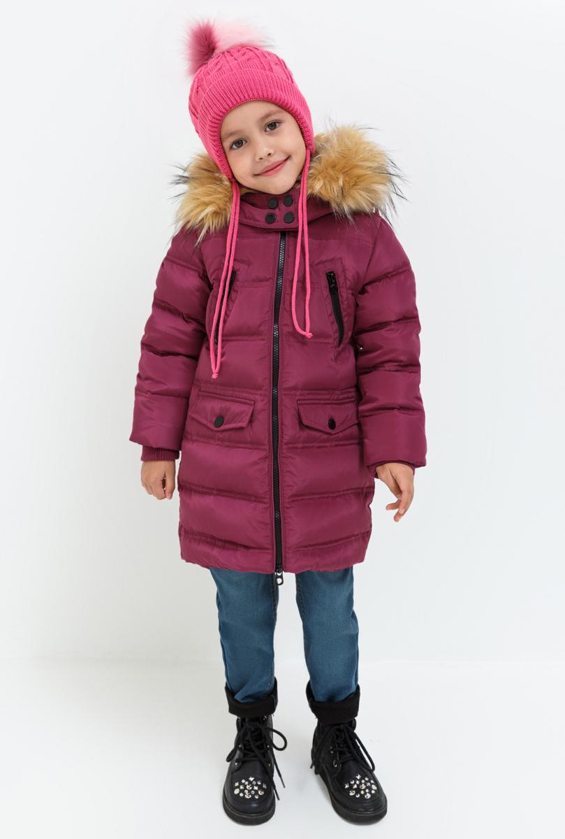 Пальто для девочки Acoola Octans, цвет: бордовый. 20220610016. Размер 10420220610016Пальто для девочки Acoola выполнено из полиэстера. Модель с капюшоном и длинными рукавами застегивается на застежку-молнию.