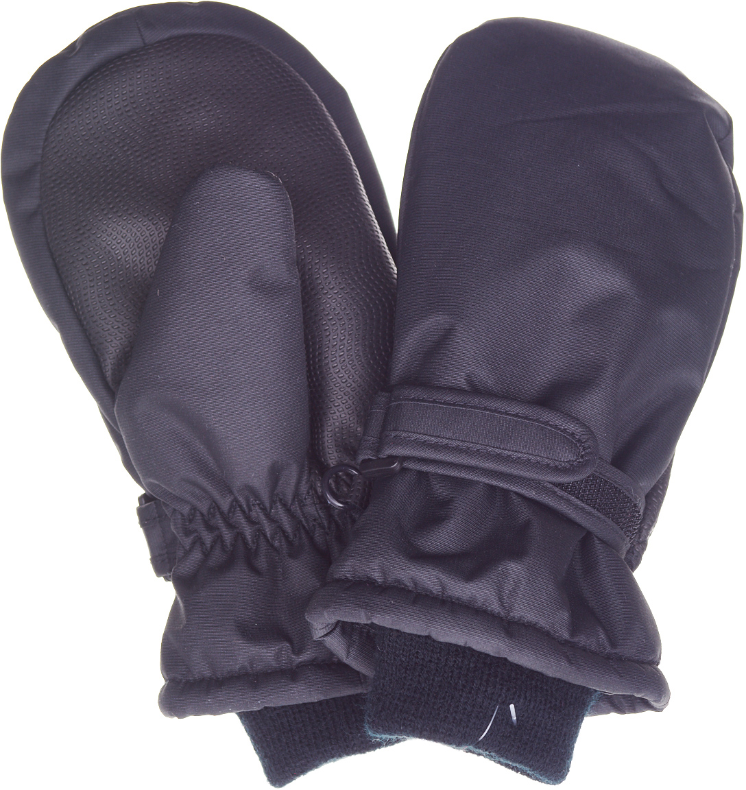 Варежки детские Button Blue, цвет: черный. 217BBUA76010800. Размер 14217BBUA76010800Подбирая зимний функциональный гардероб для ребенка, не забудьте купить варежки из плащевки, ведь они - незаменимая вещь для прогулок в морозные дни! Непромокаемая плащевка, утяжка от продувания, протектор для прочности и износостойкости изделия позволят гулять в любую погоду, гарантируя тепло, уют и комфорт.