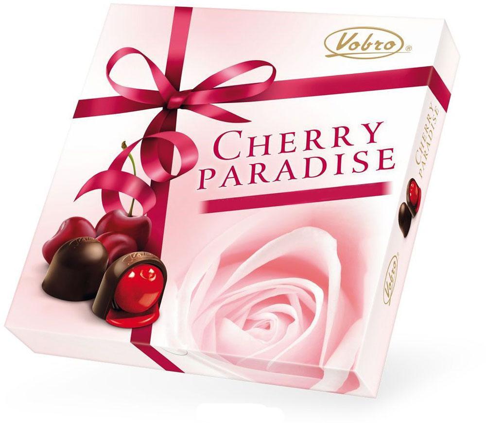Vobro Cherry Paradise набор шоколадных конфет вишня в ликере, 105 г13917_розаШоколадные конфеты Vobro Cherry Paradise - это восхитительные шоколадные конфеты из качественного шоколада с начинкой вишня в ликере.Удобная и красочная упаковка делает эти конфеты не только прекрасным лакомством, но и отличным подарком для своих близких.Уважаемые клиенты! Обращаем ваше внимание, что полный перечень состава продукта представлен на дополнительном изображении.