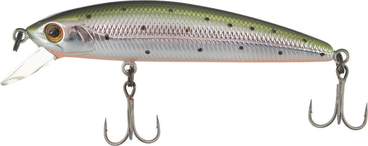 Воблер Tsuribito Minnow 60SP, цвет: серебристый, зеленый (055), длина 6 см, 4 г