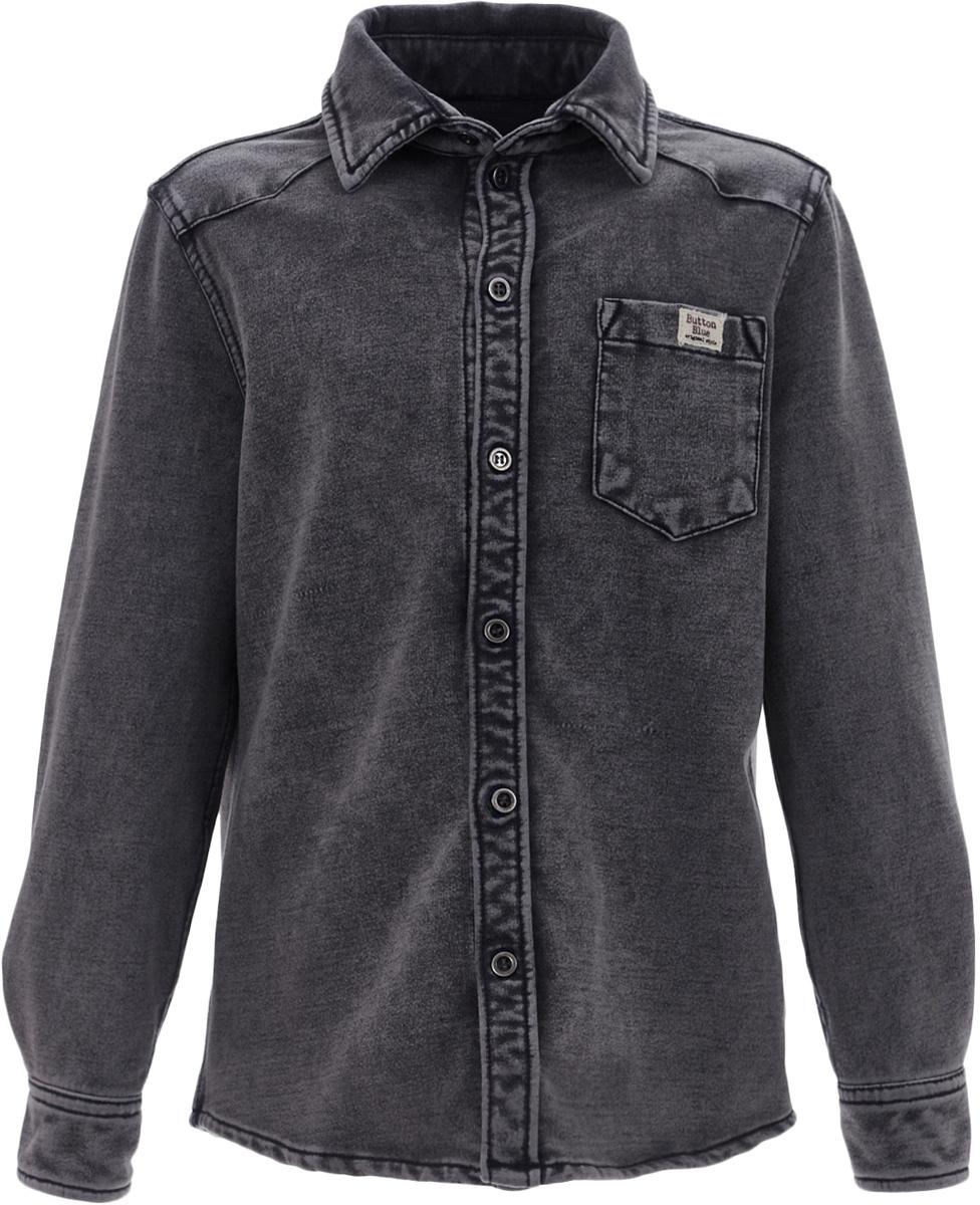 Рубашка для мальчика Button Blue, цвет: серый. 217BBBC1401D400. Размер 152, 12 лет217BBBC1401D400Модная рубашка для мальчика, выполненная из трикотажа, имитирующего джинсовую ткань с характерными потертостями и варкой, сочетает в себе непревзойденный комфорт футболки с длинным рукавом и элегантный стиль кэжуальной сорочки. Ваша задача купить рубашку недорого увенчается успехом, если вы обратите внимание на прекрасную рубашку от Button Blue. Классная трикотажная рубашка для мальчика сделает образ ребенка стильным и свежим, соответствующим основным трендам сезона.