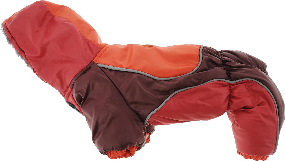 Комбинезон для собак Happy Puppy Фристайл, унисекс, цвет: бордовый, алый. Размер 2 (M)HP-160051-2_бордовый, алыйМягкий и комфортный комбинезон для собак Happy Puppy Фристайл отлично подойдет для прогулок в зимнее время года. Модель выполнена со светоотражающими вставками. Комбинезон изготовлен из водонепроницаемого полиэстера, защищающего от ветра и снега, с утеплителем из синтепона, который сохранит тепло даже в сильные морозы, а в качестве подкладки используется искусственный мех, обеспечивающий отличный воздухообмен. Комбинезон с капюшоном застегивается на кнопки на животике, благодаря чему его легко надевать и снимать. Капюшон не отстегивается, а также он дополнен подкладкой из искусственного меха. Изделие оснащено внутренними резинками, которые мягко обхватывают лапки и тело вашего питомца, не позволяя просачиваться холодному воздуху.Благодаря такому комбинезону простуда не грозит вашему питомцу, и он сможет испытать несравнимое удовольствие от снежных игр и забав.Длина по спинке: 24 см.Объем груди: 32 см.Обхват шеи: 22 см.Одежда для собак: нужна ли она и как её выбрать. Статья OZON Гид