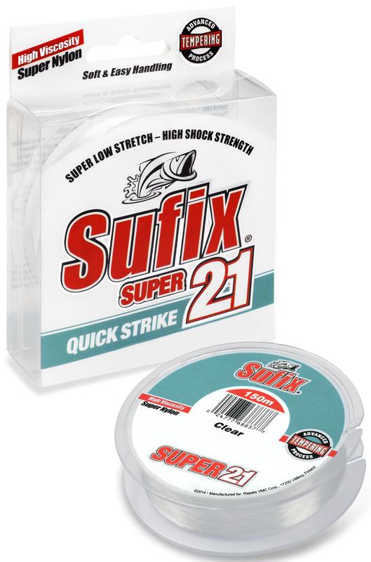Леска Sufix Super 21, цвет: прозрачный, 0,16 мм, 150 м, 2,5 кг
