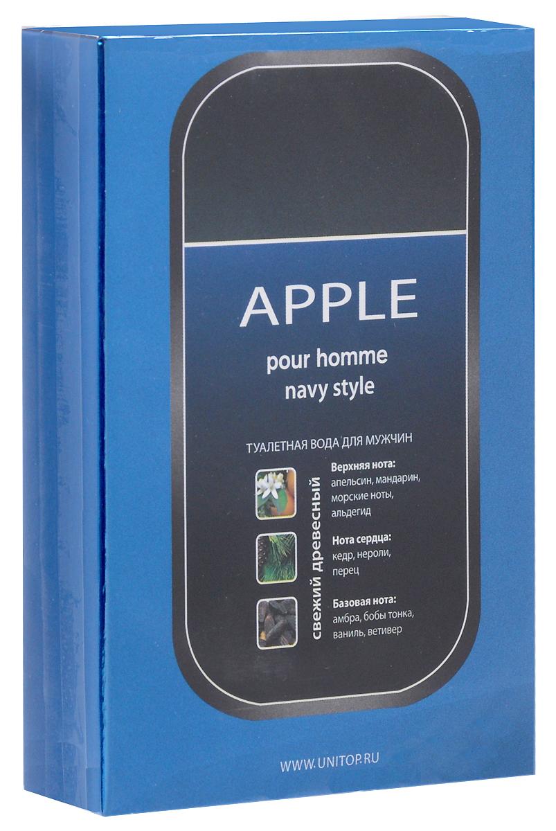 Apple Parfums Homme Navy Style. Туалетная вода, 100 мл41118Аромат Apple Homme Navy Style предназначенный для молодых и сильных мужчин, искрится энергией, придает бодрость и активность, подчеркивает спортивный стиль и динамичный характер обладателя.Классификация аромата: древесный.Пирамида аромата: Основные ноты: апельсин, мандарин, амбра, бобы тонка. Характеристики:Объем: 100 мл. Производитель: Франция. Туалетная вода - один из самых популярных видов парфюмерной продукции. Туалетная вода содержит 4-10%парфюмерного экстракта. Главные достоинства данного типа продукции заключаются в доступной цене, разнообразии форматов (как правило, 30, 50, 75, 100 мл), удобстве использования (чаще всего - спрей). Идеальна для дневного использования. Товар сертифицирован.Уважаемые клиенты!Обращаем ваше внимание на возможные изменения в дизайне упаковки. Качественные характеристики товара остаются неизменными. Поставка осуществляется в зависимости от наличия на складе.Краткий гид по парфюмерии: виды, ноты, ароматы, советы по выбору. Статья OZON Гид