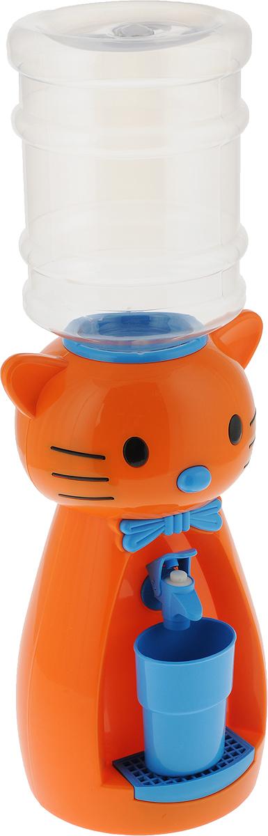 Мини-кулер для воды и сока HITT Мультик. Китти, цвет: оранжевый, синий, 2 лН25200_оранжевый, синийДетский мини-кулер HITT Мультик. Китти выполнен из экологически чистого пластика. Изделие не греет и не охлаждает воду, поэтому вы можете не беспокоиться, что ребенок обожжется или простудит горло. Соки, компоты, отвары трав в этом кулере будут для малыша более привлекательны, чем лимонад и другие вредные для организма напитки. Кроха с удовольствием будет наливать напиток из кулера в небольшой стаканчик совсем как взрослый. Изделие легкое и компактное, поэтому его можно взять с собой на дачу или на пикник. Яркий дизайн, сочные цвета и веселый персонаж сделают такой кулер украшением стола на детском празднике.Ребенок станет потреблять больше жидкости. Вам не придется уговаривать его выпить молоко или компот.Стакан входит в комплект.Высота мини-кулера (с учетом бутылки): 49 см. Размер стаканчика: 6,5 х 5 х 8,5 см. Высота бутылки: 18 см.
