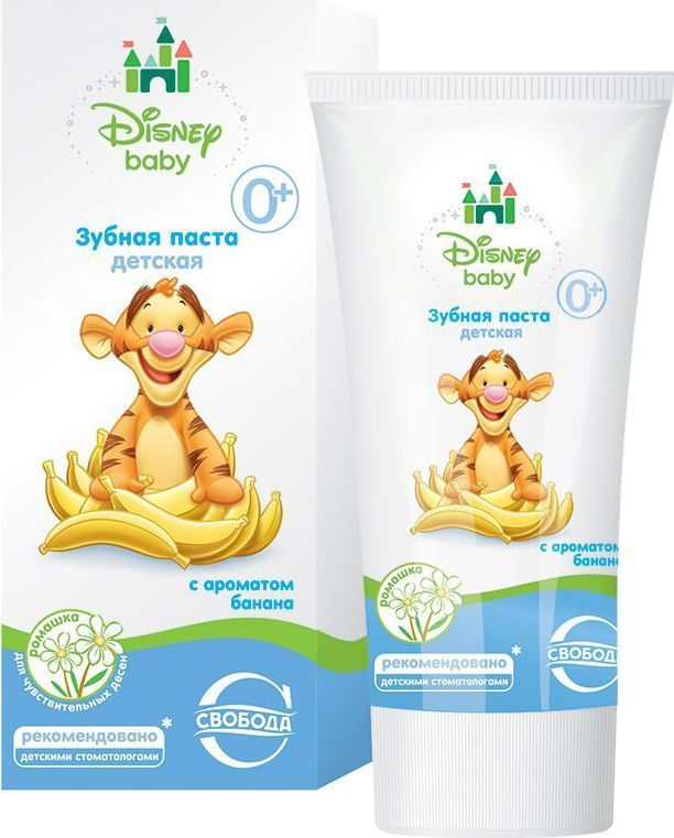 Свобода Disney Зубная паста детская с ароматом банана 62 гУТ000046229Зубная паста специально разработана для безопасного ухода за полостью рта у малышей с момента появления первого зубика. Мягкая очищающая система не повреждает структуру эмали молочных зубов. Подходит для использования с первых дней жизни 0+ Способствует укреплению зубной эмали Нежно ухаживает за полостью рта и оказывает укрепляющее действие на десны. Содержит экстракт ромашки Клиническая оценка безопасности и эффективности применения зубной пасты одобрена ведущими детскими стоматологами на кафедре детской терапевтической стоматологии МГМСУ Безопасна при случайном проглатывании во время чистки зубов Без парабенов Без лаурилсульфата натрия Без фтора Без сахара Гипоаллергенно Клинически проверено