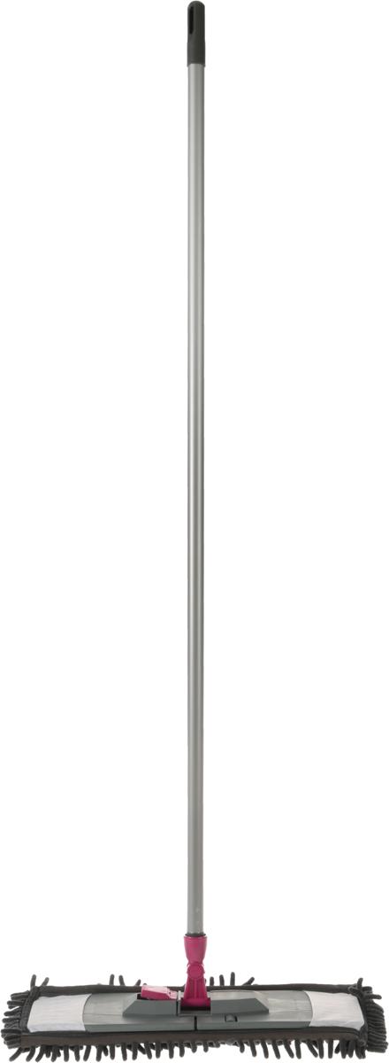 Швабра Эргопак Синель, плоская, с прорезиненной рукояткой, цвет: серый, малиновый, длина 120 см3 ERGN_малиновыйУниверсальная плоская швабра Эргопак Синель отлично подходит для мытья всех типов напольных поверхностей: паркет, ламинат, линолеум, кафельная плитка. Материалы насадки - полиэстер, который обладает высокой износостойкостью, не царапает поверхность и отлично впитывает влагу. Специальная конструкция поворотного соединения позволяет очищать труднодоступные места. Благодаря складному держателю, можно легко заменить чистящие насадки. Закручивающаяся прорезиненная рукоятка может отсоединяться от насадки. Швабра подходит для влажного и сухого использования. Длина ручки: 120 см.Размер насадки: 41 х 13 см.