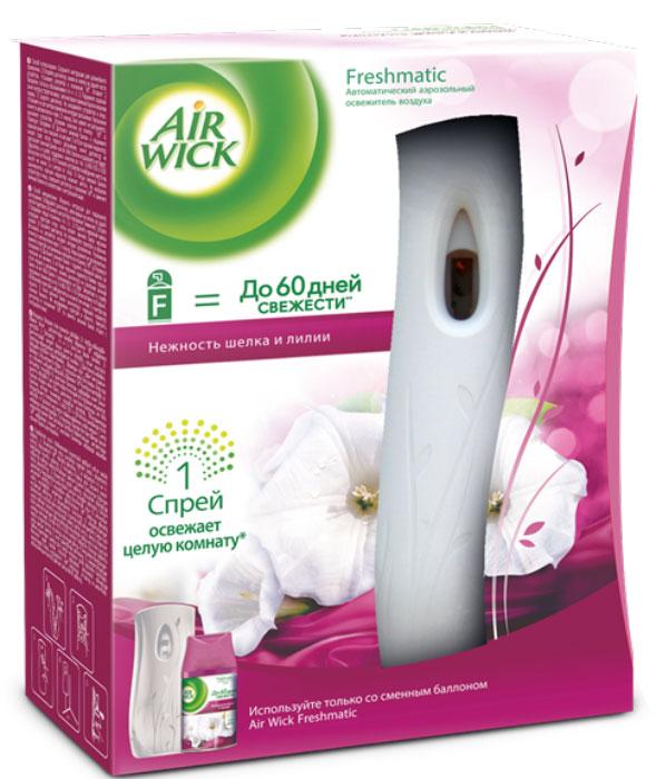 """Автоматический аэрозольный освежитель воздуха """"AirWick"""" - революционная новинка на рынке освежителей воздуха. Автоматический спрей разработан специально, чтобы наполнять ваш дом приятным ароматом.  """"AirWick"""" будет автоматически распылять свежий, легкий аромат с заданными интервалами. Вы можете выбрать 3 разных интервала - 9, 18 и 36 минут. """"AirWick"""" подскажет вам, когда необходимо заменить сменный баллон с помощью красного индикатора.  Продукты """"AirWick"""" универсальны в использовании: они подходят для ароматизации любых помещений в доме, ванной комнаты, туалета, прихожей.  В комплект входит:  - диспенсер;  - сменный баллон;  - 2 батарейки.   Характеристики:  Объем: 250 мл. Размер упаковки: 22 см x 8,5 см x 18 см. Производитель: Великобритания.   Товар сертифицирован."""