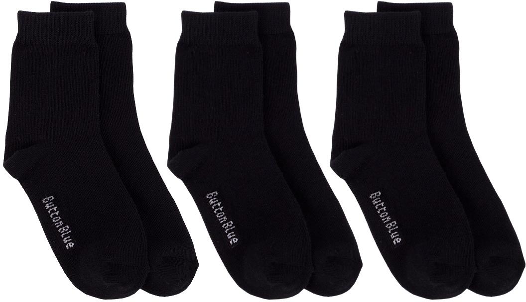 Носки для мальчика Button Blue, цвет: черный, 3 пары. 217BBBU85020800. Размер 14 носки купить