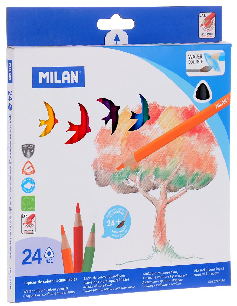 Milan Набор акварельных карандашей 431 24 цвета742324Набор цветных карандашей Milan предназначен для школы и творческих мастерских.Хорошо размываются водой.Цвета легко смешиваются между собой, можно получить практически любой оттенок, при желании добившись нежного эффекта акварели.Интересный эффект достигается, когда рисунок наносится на предварительно смоченный картон или бумагу.Карандаши трехграннойформы, корпус выполнен из натурального дерева. Грифель, даже при падении карандаша, не ломается.В комплекте идет кисточка с защитным колпачком.Акварельные карандаши соответствуют всем европейским стандартам.Уважаемые клиенты! Обращаем ваше внимание на то, что упаковка может иметь несколько видов дизайна. Поставка осуществляется в зависимости от наличия на складе.
