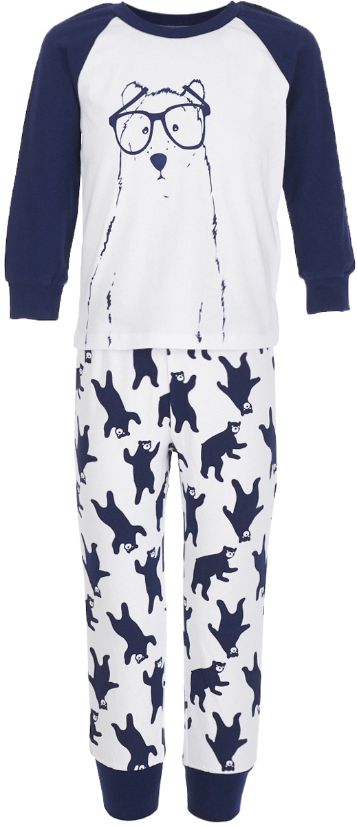 Пижама для мальчика Button Blue, цвет: белый. 217BBBU97011007. Размер 98, 3 года шапка button blue button blue bu019cgwue64