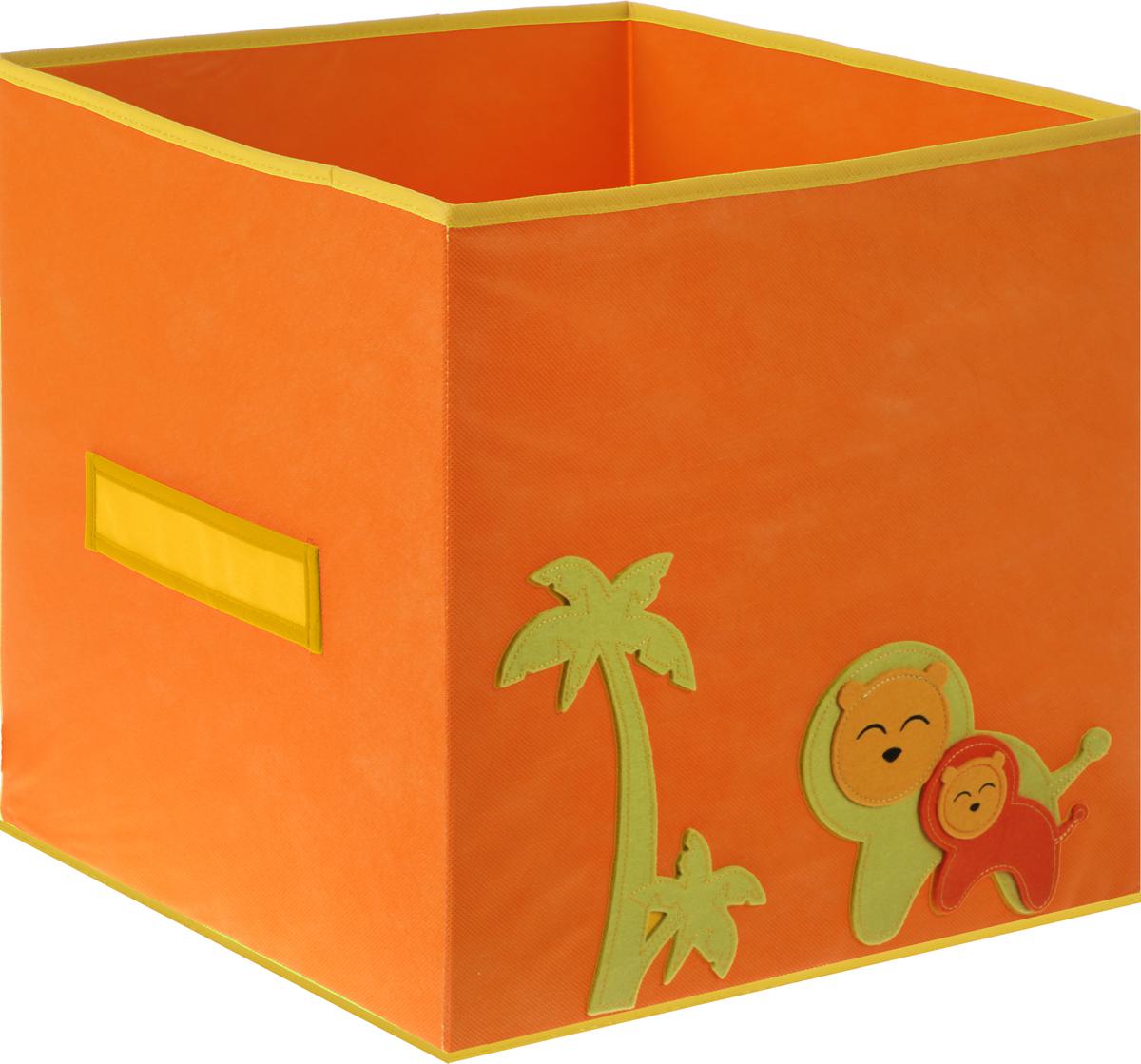 Коробка для игрушек Все на местах Sunny Jungle, цвет: оранжевый, желтый, 40 х 40 х 40 см1071032_желтый с рисункомКоробка для хранения игрушек Все на местах Sunny Jungle выполнена из высококачественного нетканого материала (спанбонда), который обеспечивает естественную вентиляцию, позволяя воздуху проникать внутрь, но не пропускает пыль. Вставки из ПВХ хорошо держат форму.Такая коробка легко разбирается и собирается, она поможет удобно хранить игрушки.Размер коробки: 40 см х 40 см х 40 см.