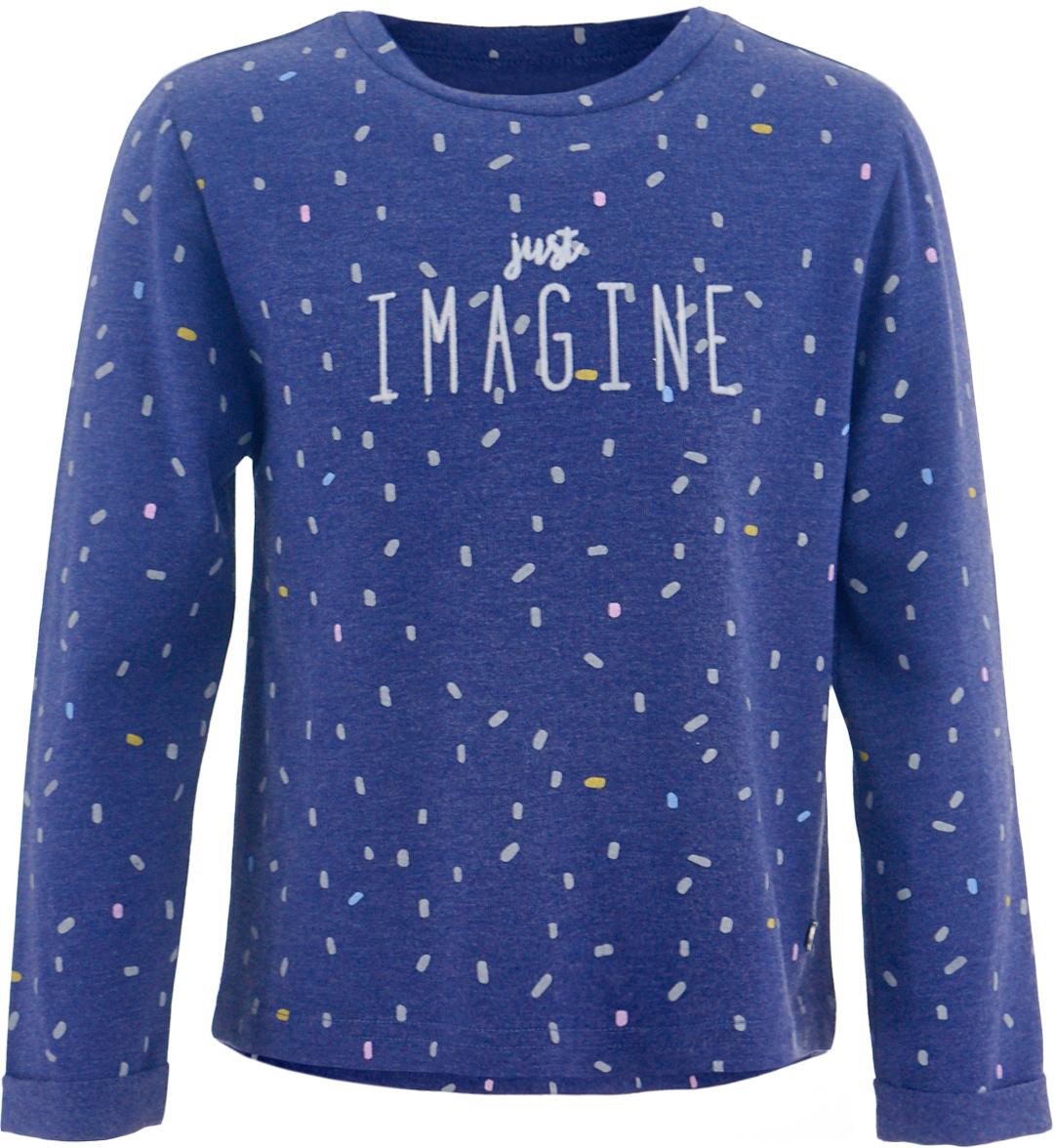 Футболка с длинным рукавом для девочки Button Blue, цвет: темно-синий. 217BBGC12041013. Размер 146, 11 лет217BBGC12041013Детская футболка с длинным рукавом - основная составляющая осенне-зимнего гардероба. Свободная футболка с рисунком выглядит ярко, свежо и привлекательно. Дети быстро растут и часто меняют свои вкусовые предпочтения, поэтому всем практичным родителям надо приобретать детские футболки недорого, чтобы обеспечить ребенку должное разнообразие. Если вы хотите купить недорогую детскую футболку отличного качества, модель от Button Blue - прекрасный вариант. Вместе с футболкой вы приобретете комфорт и возможность экспериментировать, создавая модные многослойные решения.
