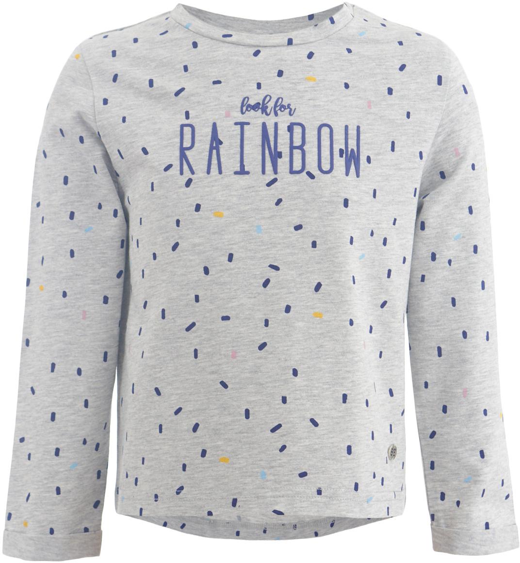 Футболка с длинным рукавом для девочки Button Blue, цвет: серый. 217BBGC12041913. Размер 146, 11 лет217BBGC12041913Детская футболка с длинным рукавом - основная составляющая осенне-зимнего гардероба. Свободная футболка с рисунком выглядит ярко, свежо и привлекательно. Дети быстро растут и часто меняют свои вкусовые предпочтения, поэтому всем практичным родителям надо приобретать детские футболки недорого, чтобы обеспечить ребенку должное разнообразие. Если вы хотите купить недорогую детскую футболку отличного качества, модель от Button Blue - прекрасный вариант. Вместе с футболкой вы приобретете комфорт и возможность экспериментировать, создавая модные многослойные решения.
