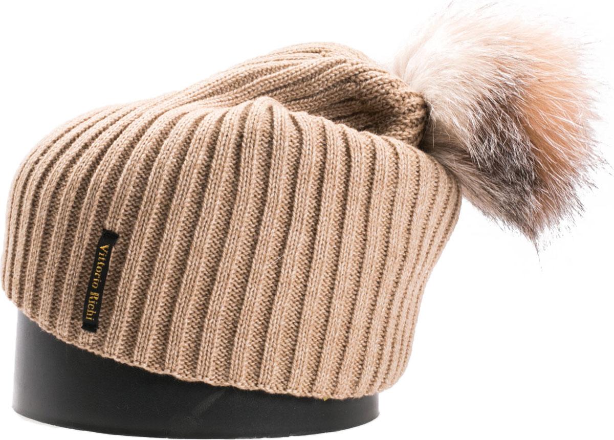 Шапка женская Vittorio Richi, цвет: бежевый. NSH900518. Размер 56/58NSH900518Стильная женская шапка Vittorio Richi отлично дополнит ваш образ в холодную погоду. Модель, изготовленная из шерсти с добавлением акрила, максимально сохраняет тепло и обеспечивает удобную посадку. Шапка дополнена помпоном из меха и сбоку фирменной нашивкой. Привлекательная стильная шапка подчеркнет ваш неповторимый стиль и индивидуальность.