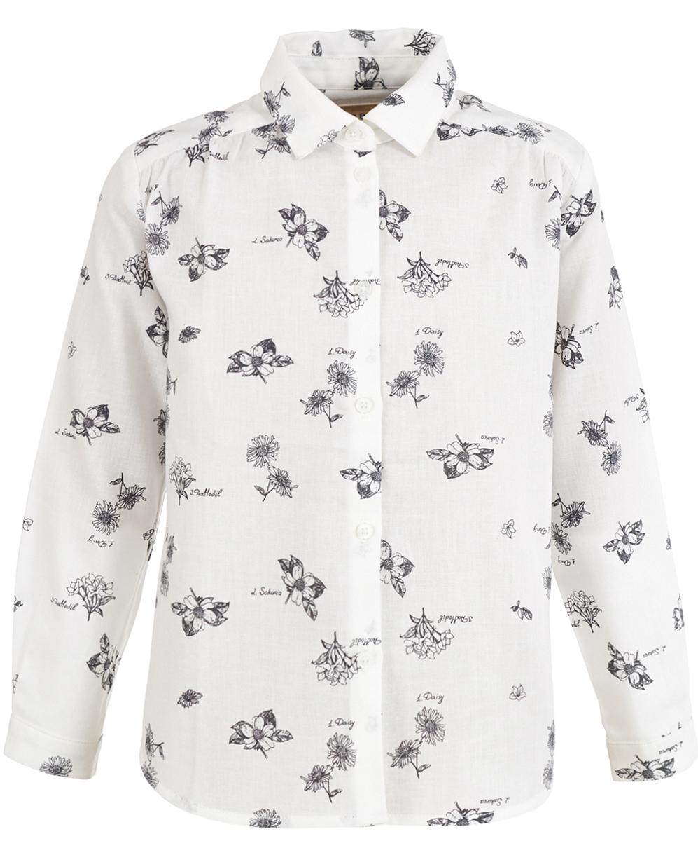 Блузка для девочки Button Blue, цвет: белый. 217BBGC22010213. Размер 128, 8 лет рубашка для мальчика button blue цвет белый 217bbbc23010213 размер 128 8 лет
