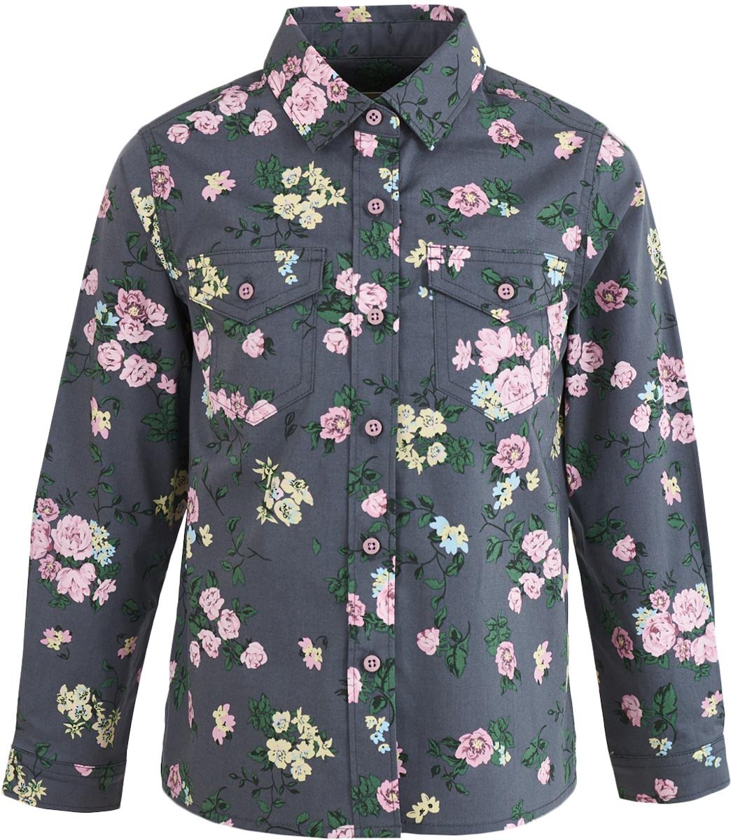 Рубашка девочки Button Blue, цвет: темно-серый. 217BBGC23012014. Размер 122, 7 лет