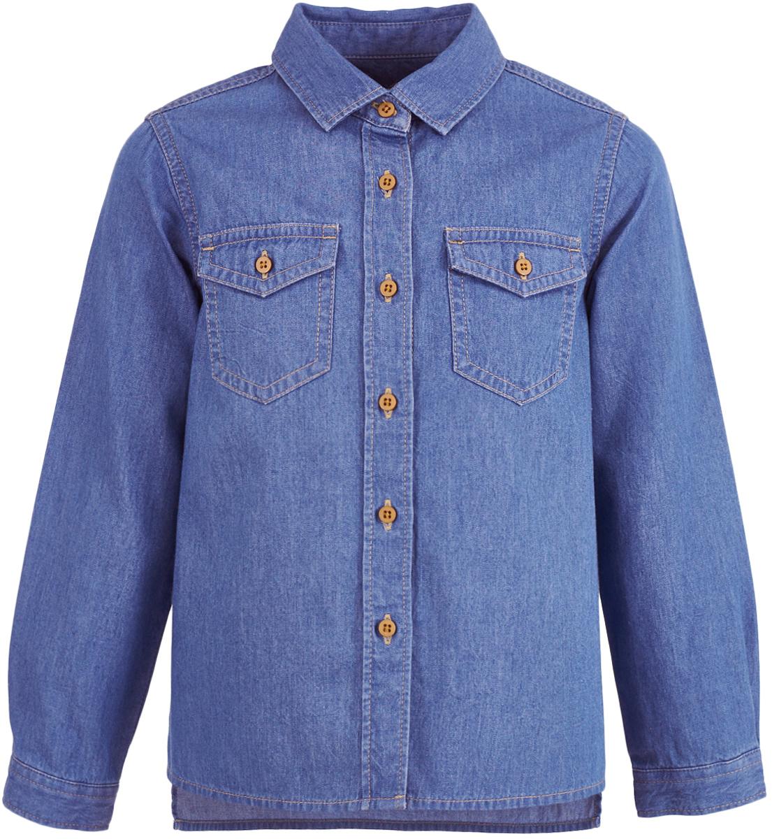 Рубашка для девочки Button Blue, цвет: голубой. 217BBGC2301D200. Размер 134, 9 лет217BBGC2301D200Модная рубашка для девочки должна выглядеть именно так: свободный прямой силуэт и мягкая, приятная на ощупь джинсовая ткань. Ваша задача купить рубашку недорого увенчается успехом, если вы обратите внимание на прекрасную рубашку от Button Blue. Дети быстро растут и часто меняют свои вкусовые предпочтения, поэтому всем практичным родителям надо приобретать детские рубашки недорого, чтобы обеспечить ребенку должное разнообразие. Классная джинсовая рубашка для девочки сделает образ ребенка стильным и свежим, соответствующим основным трендам сезона.