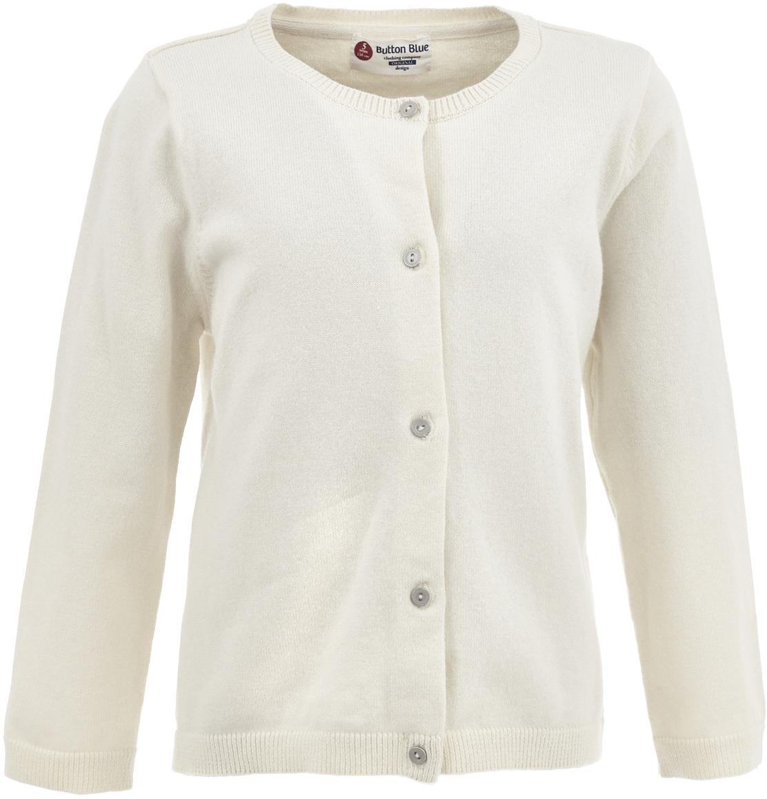 Кардиган для девочки Button Blue, цвет: молочный. 217BBGC35011400. Размер 98, 3 года217BBGC35011400Вязаный кардиган - классика жанра. Это базовый ассортимент, не утративший своей актуальности на протяжении многих лет. Спокойная свободная форма, мягкий силуэт делают кардиган отличным дополнением к любому комплекту с брюками или юбкой. Ваша желание купить детский кардиган недорого увенчается успехом, если вы обратите внимание на достойную модель от Button Blue. Молочный кардиган - отличный вариант для тех, кто ценит уют, комфорт и свободу движений.