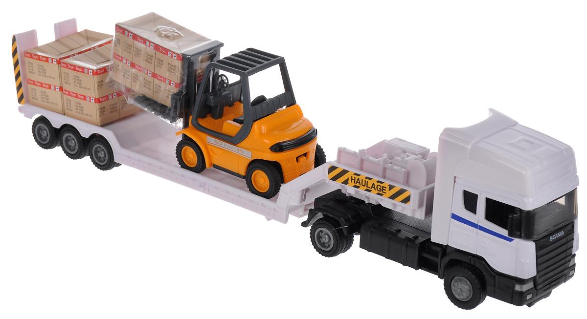 Autogrand Набор машинок Scania с погрузчиком на платформе autotime набор машинок recovery truck long эвакуатор с прицепом