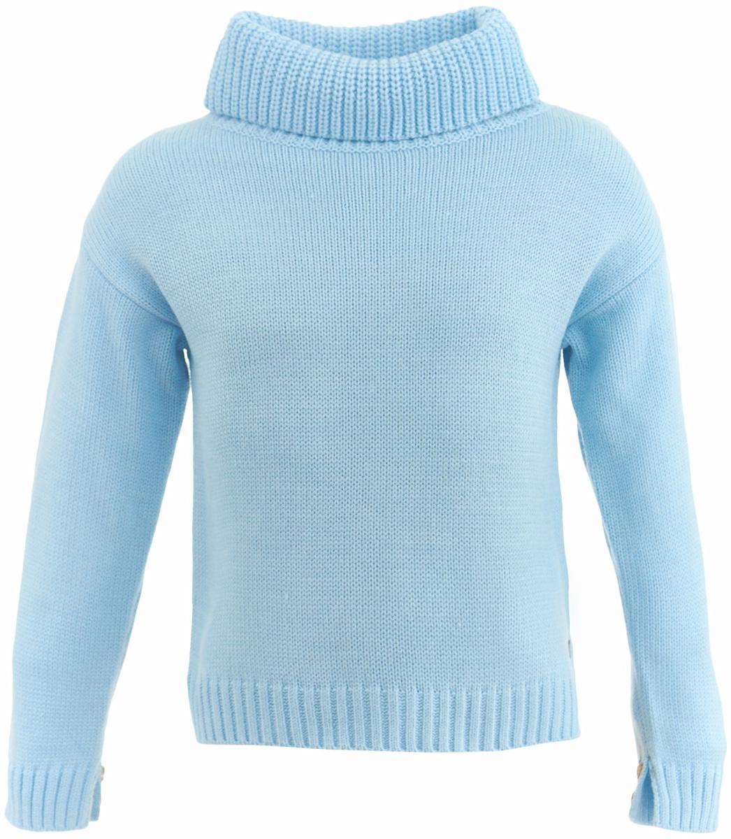 Свитер для девочки Button Blue, цвет: голубой. 217BBGC35041800. Размер 110, 5 лет217BBGC35041800Купить модный свитер для девочки - задача не из простых. А купить модный свитер недорого еще сложнее! Ведь он должен не только согревать, но и быть стильным, интересным, формируя зимний образ ребенка. Детский свитер от Button Blue - достойное и выгодное приобретение. Мягкая пряжа, свободный прямой силуэт, боковые разрезы делают свитер привлекательным. Вязаный свитер - отличный вариант для тех, кто ценит тепло, уют и комфорт.