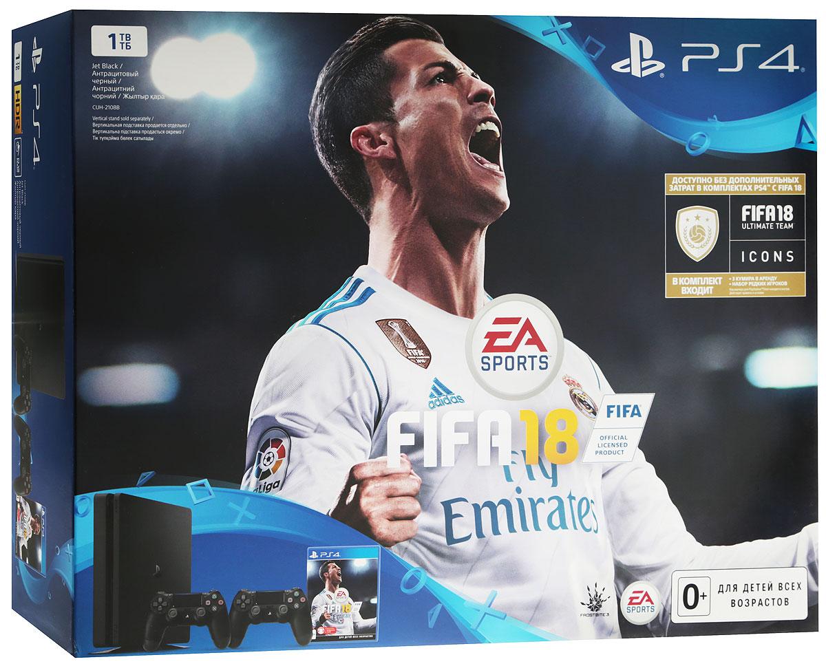 Игровая приставка Sony PlayStation 4 Slim (1Tb), Black + FIFA 18 + PS Plus (14 дней) + дополнительный контроллер Dualshock 4 - Игровые консоли