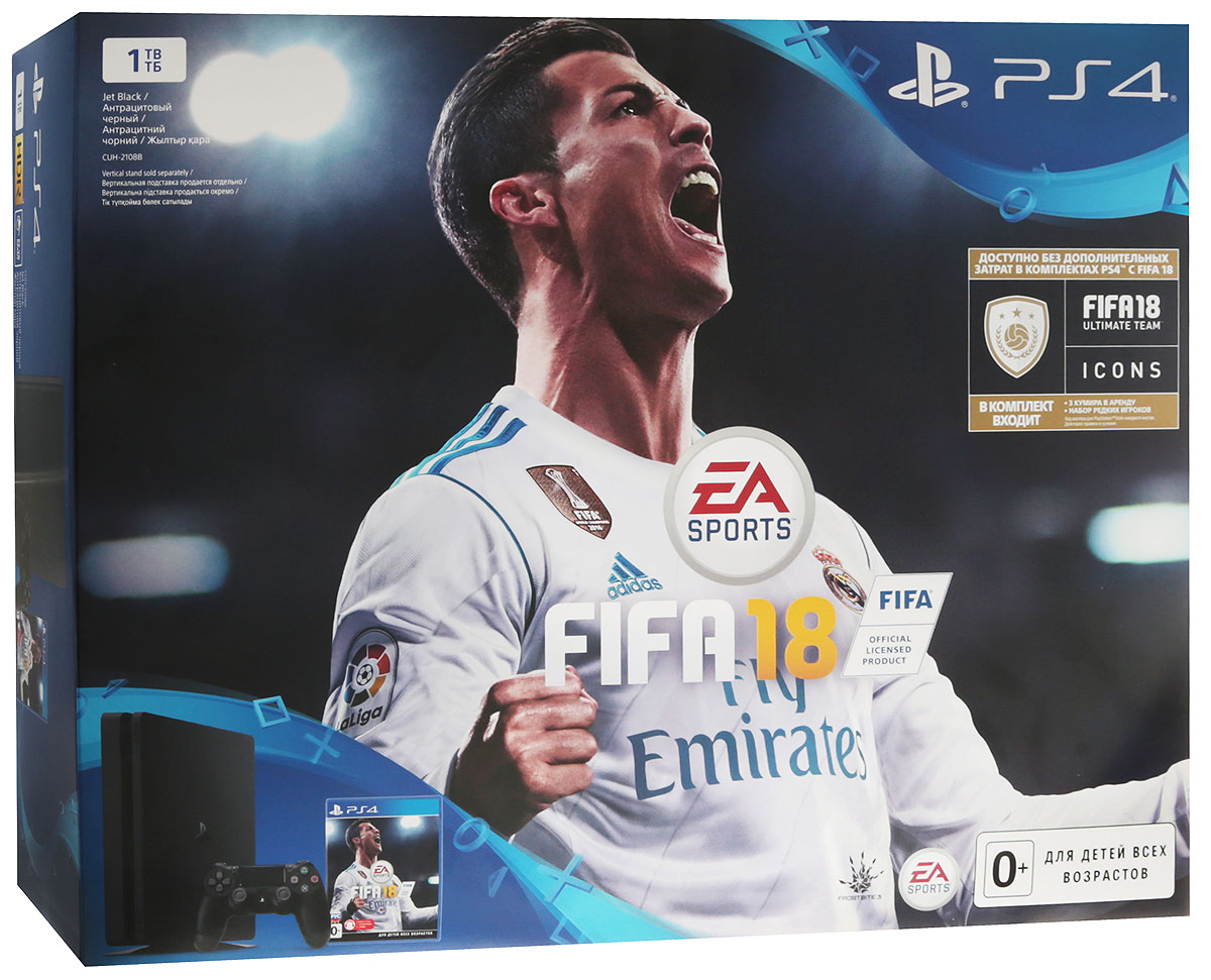 Игровая приставка Sony PlayStation 4 Slim (1Tb), Black + FIFA 18 + PS Plus (14 дней) приставка sony playstation 4 1tb fifa 18 ps plus 14 дней cuh 2108b