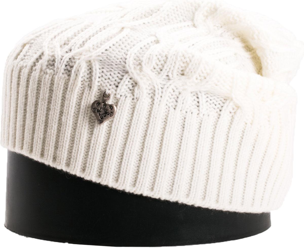 Шапка женская Vittorio Richi, цвет: белый. NSH900110. Размер 56/58NSH900110Стильная женская шапка Vittorio Richi отлично дополнит ваш образ в холодную погоду. Модель, изготовленная из шерсти с добавлением акрила, максимально сохраняет тепло и обеспечивает удобную посадку. Шапка дополнена ажурной вязкой и сбоку декоративным элементом. Привлекательная стильная шапка подчеркнет ваш неповторимый стиль и индивидуальность.