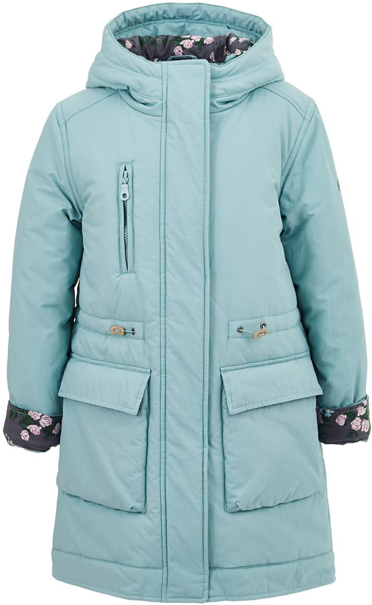 Пальто для девочки Button Blue, цвет: бирюзовый. 217BBGC46012600. Размер 104, 4 года
