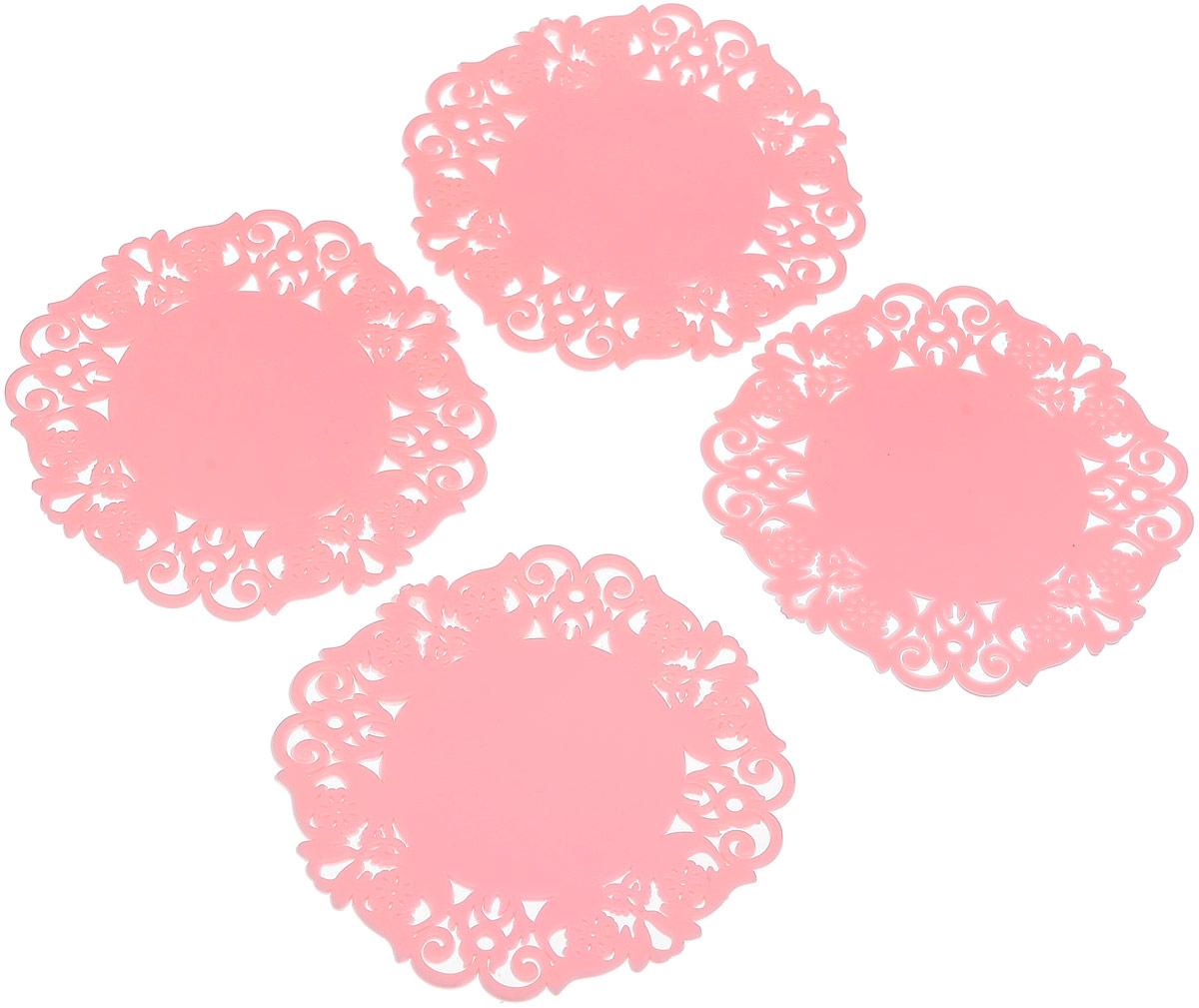 Набор подставок под горячее Доляна Чаепитие, цвет: розовый, 10 см, 4 шт812066Силиконовая подставка под горячее — практичный предмет, который обязательно пригодится в хозяйстве. Изделие поможет сберечь столы, тумбы, скатерти и клеёнки от повреждения нагретыми сковородами, кастрюлями, чайниками и тарелками.