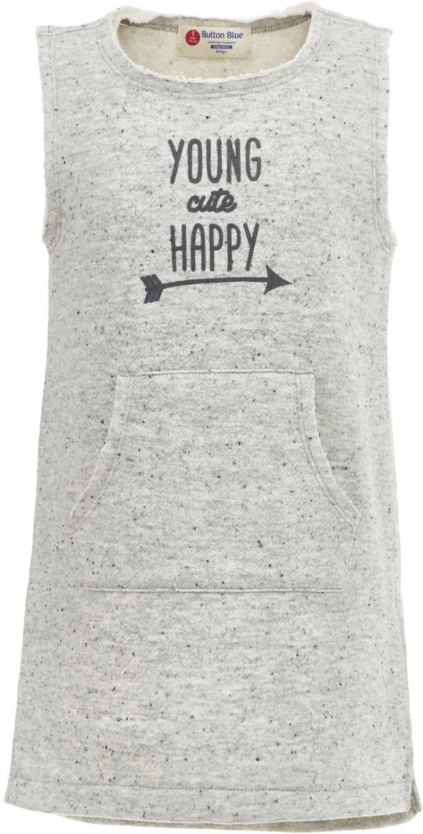 Платье для девочки Button Blue, цвет: серый. 217BBGC50031900. Размер 98, 3 года повседневные платья