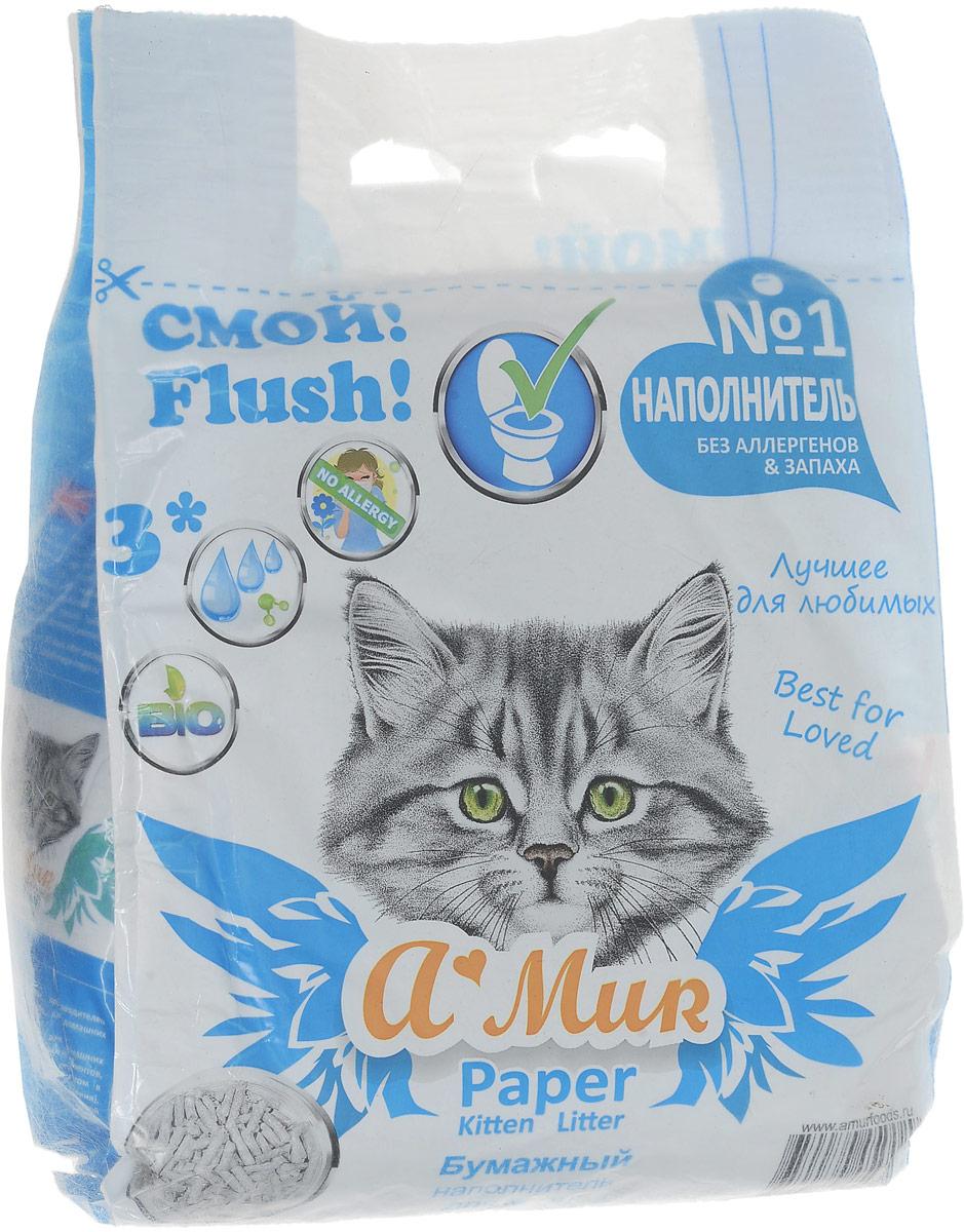 Наполнитель для кошачьего туалета A'MUR, бумажный, для котят, 6 л наполнитель для кошачьих туалетов sepicat fresh комкующийся облегченный классический 10 л