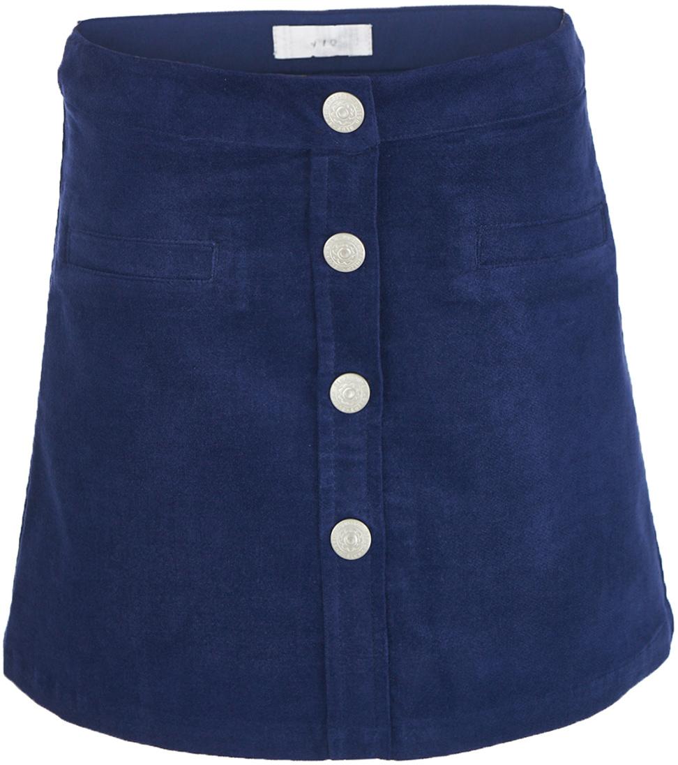 Юбка для девочки Button Blue, цвет: темно-синий. 217BBGC61011000. Размер 110, 5 лет217BBGC61011000Какой должна быть юбка на каждый день? Модной, удобной, практичной! Именно такая юбка для девочки из мягкого вельвета сделает каждый день ребенка комфортным! Оптимальная длина, трапециевидный силуэт, популярная застежка на кнопки делают юбку очень удобной и для дома, и для детского сада, и для прогулок на свежем воздухе. Вы по-прежнему считаете, что недорогие детские юбки не могут выглядеть привлекательно? Юбка от Button Blue убедит вас в обратном!