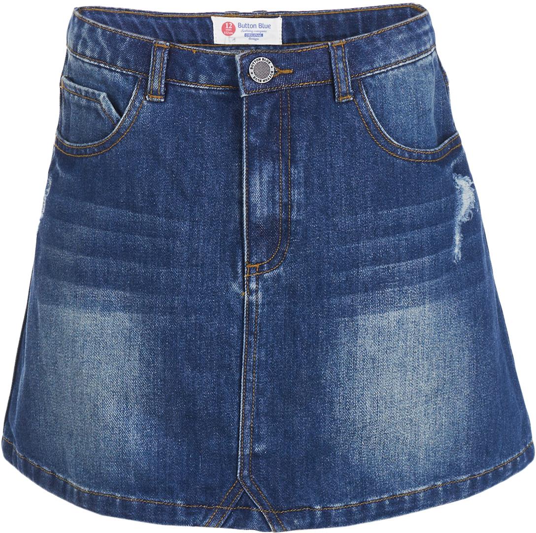 Юбка для девочки Button Blue, цвет: синий. 217BBGC6102D500. Размер 128, 8 лет блузка для девочки button blue цвет розовый 217bbgs22041200 размер 128 8 лет
