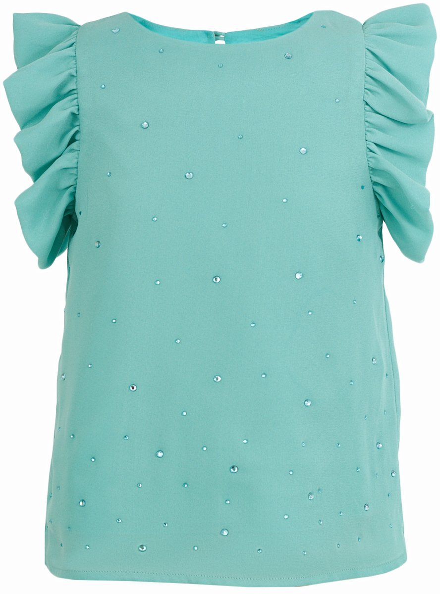 Блузка для девочки Button Blue, цвет: бирюзовый. 217BBGP22012600. Размер 98, 3 года217BBGP22012600Бирюзовая блузка с сияющим декором может быть как красивым элементом нарядного комплекта, так и ярким акцентом образа в стиле casual. Именно такими и должны быть детские блузки, подходящие для торжественных случаев. Для нарядного гардероба девочки, блузка со стразами - отличное решение. Наверное, большинство родителей согласятся с тем, что недорогие нарядные блузки более предпочтительны для покупки в предновогодний период, когда много праздничных хлопот и без того серьезно сказываются на бюджете семьи. Недорогая, но эффектная блузка со стразами от Button Blue сделает образ ребенка ярким и привлекательным.