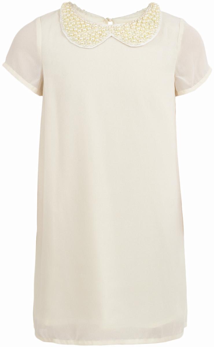 Платье для девочки Button Blue, цвет: молочный. 217BBGP25021400. Размер 128, 8 лет217BBGP25021400Наверное, большинство родителей согласятся с тем, что недорогие нарядные платья более предпочтительны для покупки в предновогодний период, когда много праздничных хлопот и без того серьезно сказываются на бюджете семьи. Это платье - оптимальный вариант! В нем девочка будет выглядеть нарядно и привлекательно. Дополнив образ новогодними аксессуарами, в этом платье можно смело водить хоровод, ходить в гости, в театр, создавая праздничное настроение. Если вы хотите купить платье для предстоящих торжеств, эта модель от Button Blue - отличный выбор.