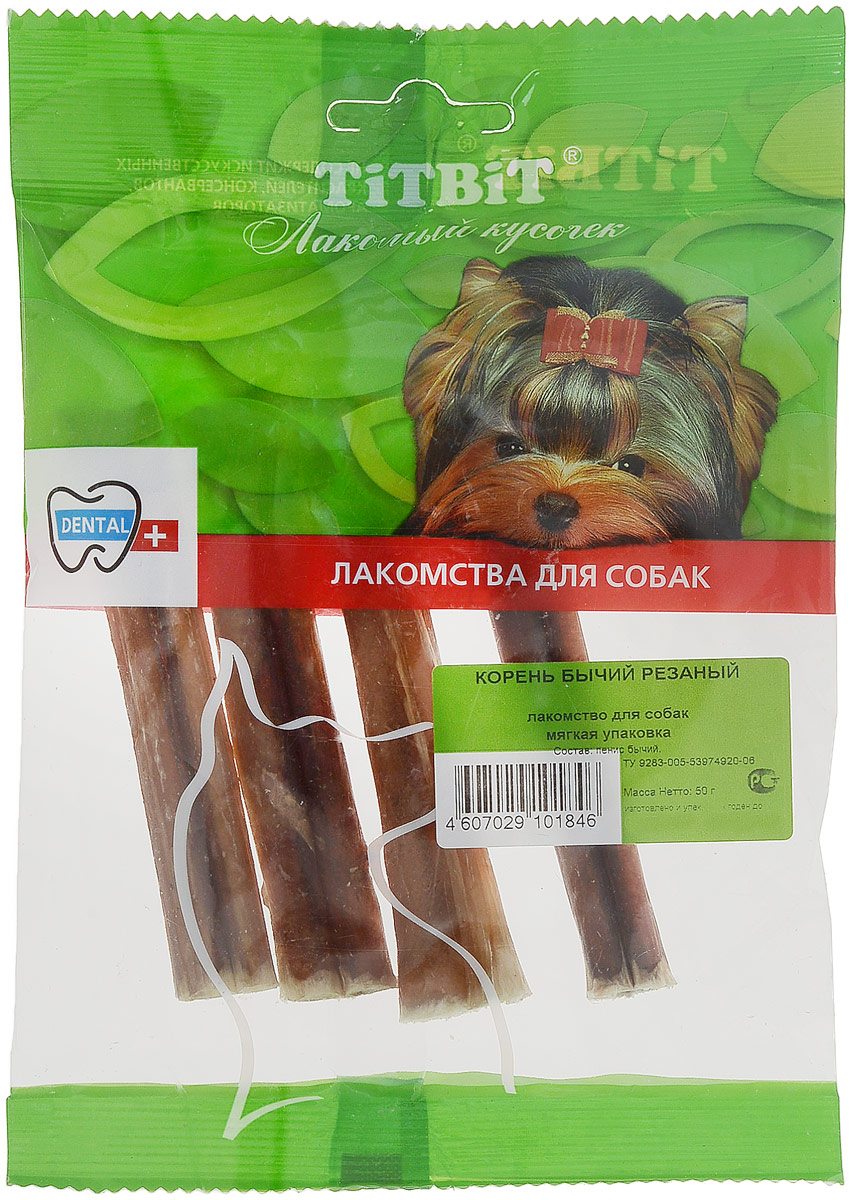 """Лакомство для собак мелких пород """"Titbit"""", корень бычий резанный, 4 шт"""