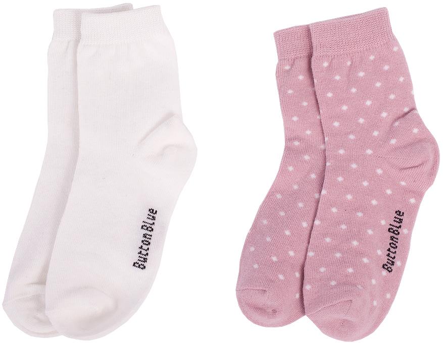Носки для девочки Button Blue, цвет: белый, розовый, 2 пары. 217BBGU85010200. Размер 20217BBGU85010200Детские носки - необходимая вещь на каждый день. И их в гардеробе ребенка должно быть немало. Если вы решили дополнить осенне-зимний гардероб ребенка хлопковыми носками, попробуйте купить комплект из двух пар. Вы думаете, что хорошие, качественные и недорогие детские носки - это невозможно? Носки от Button Blue убедят вас в обратном.