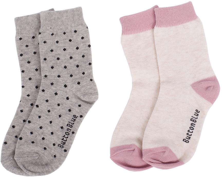 Носки для девочки Button Blue, цвет: серый, молочный, 2 пары. 217BBGU85011400. Размер 14 сарафан для девочки button blue цвет серый 215bbgs5004 размер 164 14 лет