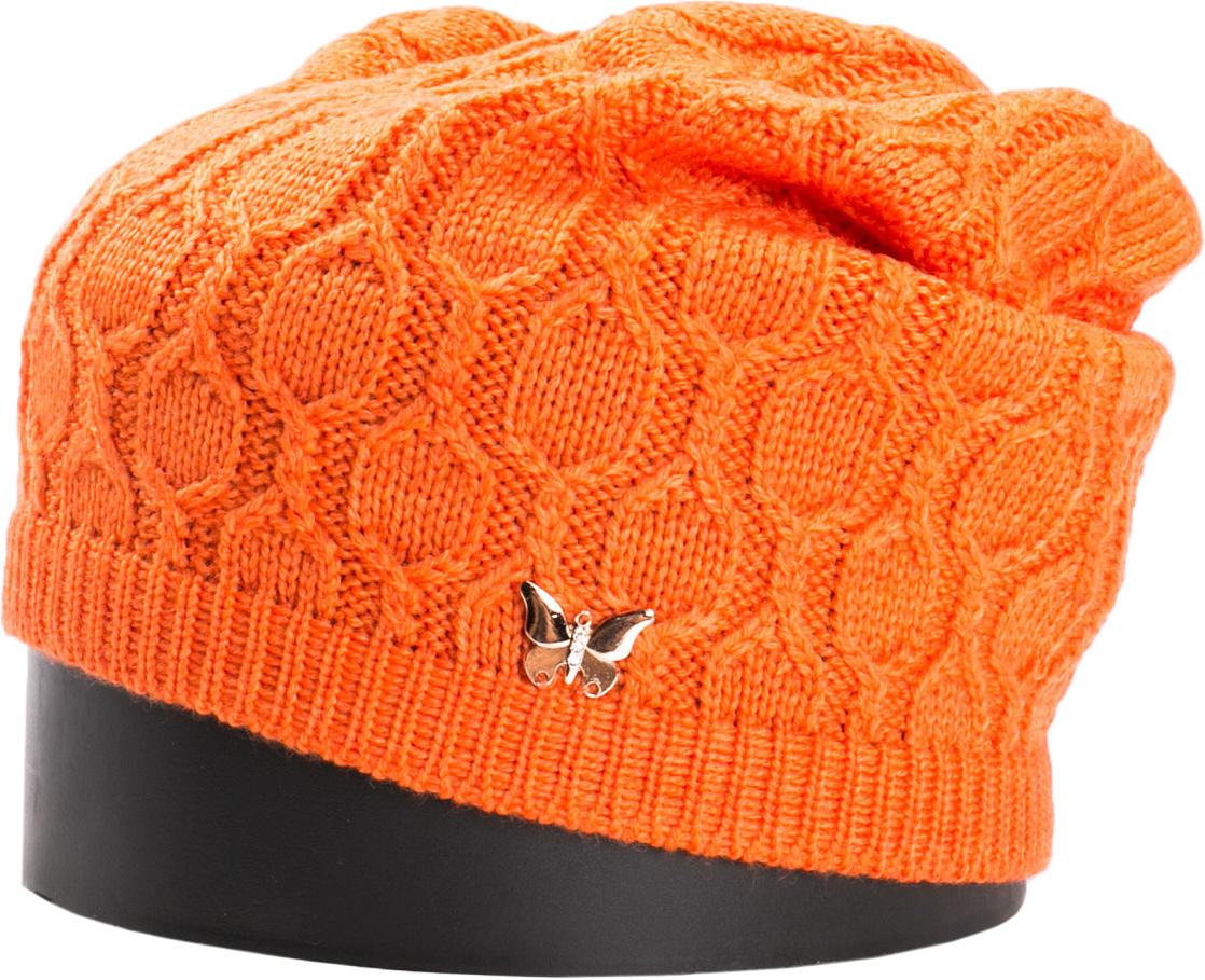 Шапка женская Vittorio Richi, цвет: оранжевый. NSH415016. Размер 56/58NSH415016Стильная женская шапка Vittorio Richi отлично дополнит ваш образ в холодную погоду. Модель, изготовленная из шерсти с добавлением акрила, максимально сохраняет тепло и обеспечивает удобную посадку. Шапка дополнена сбоку декоративной бабочкой. Привлекательная стильная шапка подчеркнет ваш неповторимый стиль и индивидуальность.