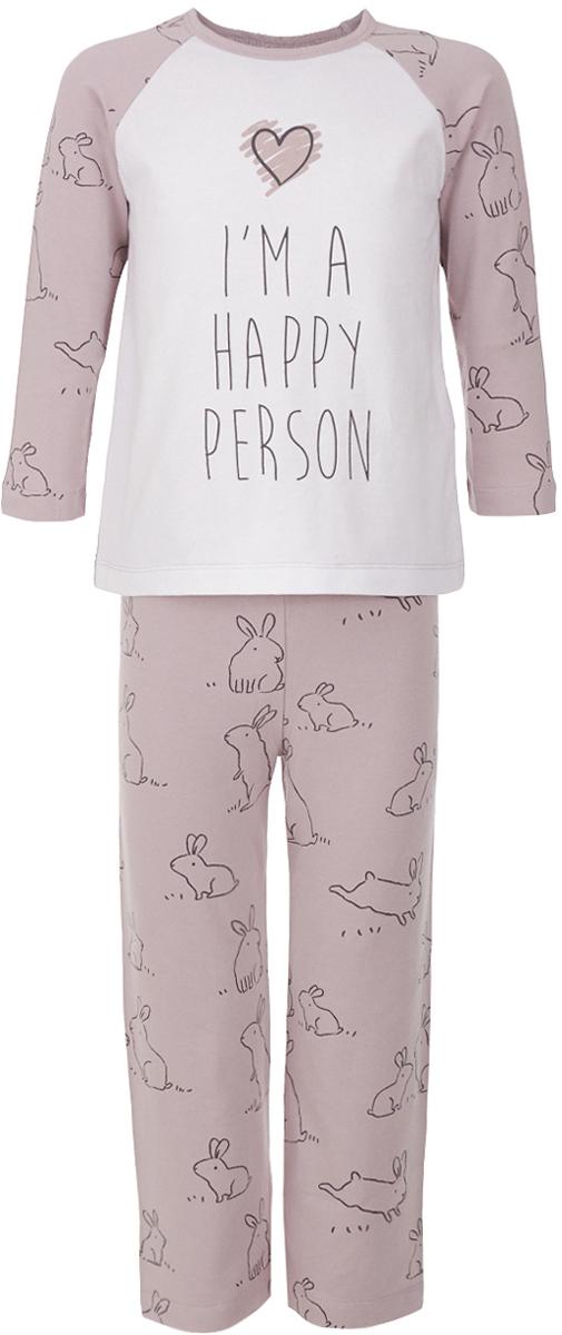 Пижама для девочки Button Blue, цвет: розовый. 217BBGU97011207. Размер 104, 4 года217BBGU97011207Уютная пижама, состоящая из футболки с длинным рукавом и брюк, - прекрасный комплект для комфортного сна и добрых сновидений. Если вы хотите сформировать бельевой гардероб ребенка из качественных, комфортных, приятных к телу вещей, вам стоит купить пижаму от Button Blue. Все трикотажные пижамы для девочек украшает крупный интересный принт.