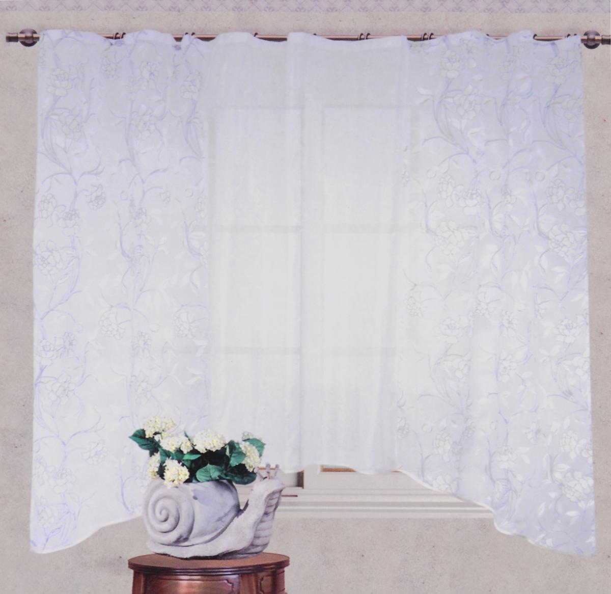 Арка Garden, на ленте, с рюшей, цвет: белый, оливковый, высота 180 смС 2287 - W191 V13Арка Garden выполнена из полиэстераи оформлена печатным рисунком.Штора крепится на карниз при помощи ленты, которая поможет красиво и равномерно задрапировать верх. Приятная текстура и цвет штор привлекут к себе внимание и органично впишутся в интерьер помещения.Высота: 180 см