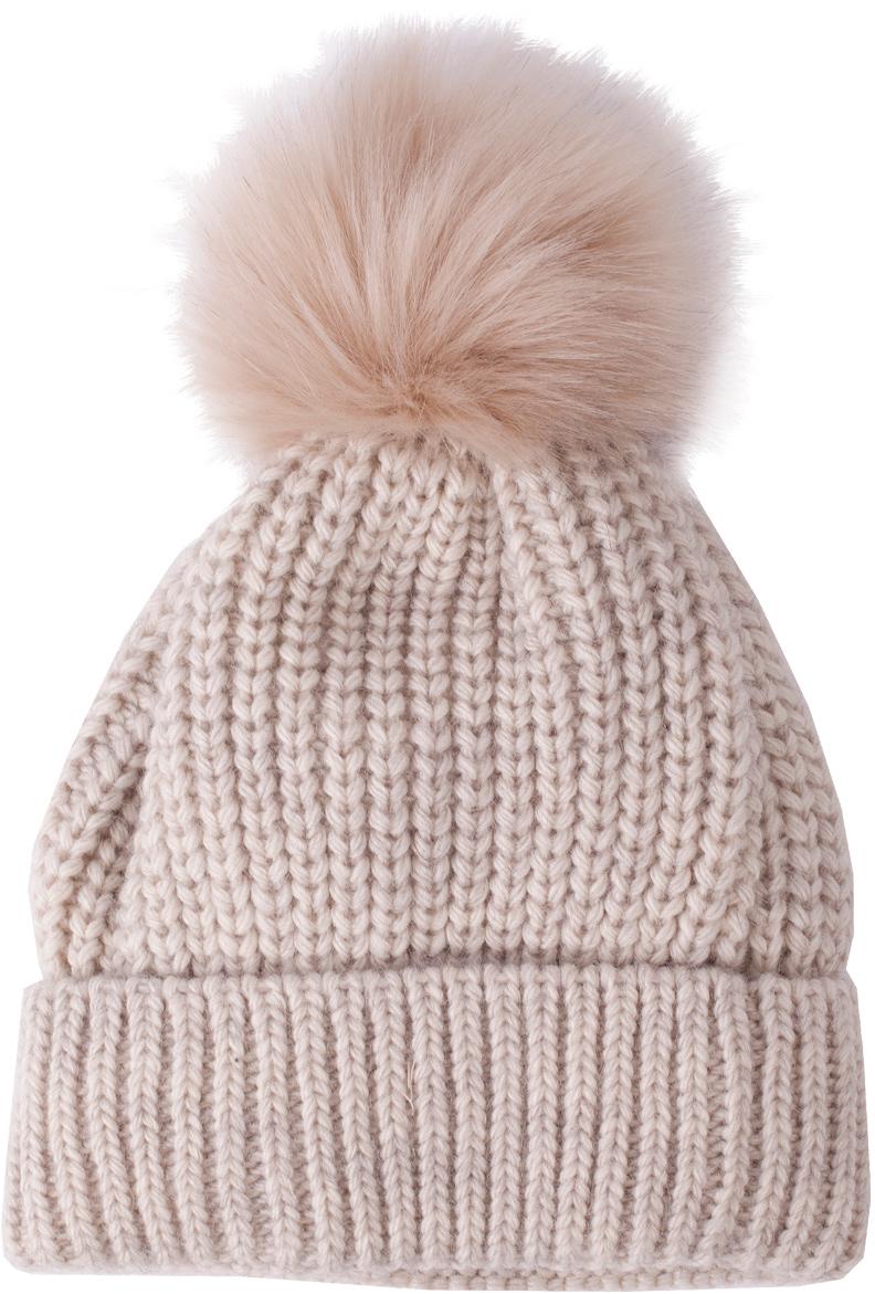 Шапка для девочки Button Blue, цвет: бежевый. 217BBGX73092100. Размер 56217BBGX73092100Детские вязаные шапки на подкладке из флиса - необходимый атрибут прогулочного гардероба. К тому же, они отлично украшают и завершают осенне-зимний комплект. Купить модную шапку для девочки, значит, позаботиться о комфорте и хорошем настроении ребенка.